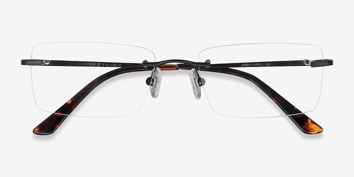 Enterprise Black Metal Eyeglass Frames from EyeBuyDirect, Closed View