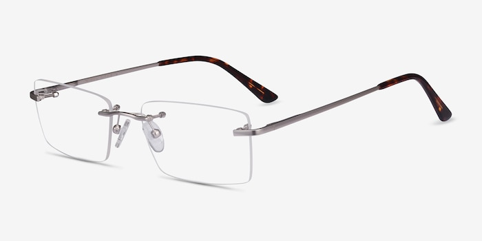 Enterprise Silver Metal Eyeglass Frames from EyeBuyDirect, Angle View