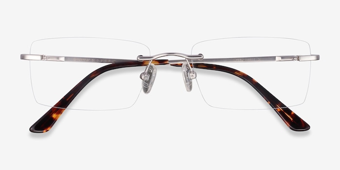 Enterprise Silver Metal Eyeglass Frames from EyeBuyDirect, Closed View