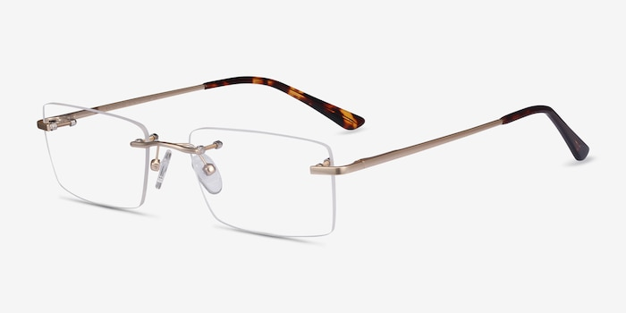 Enterprise Gold Metal Eyeglass Frames from EyeBuyDirect, Angle View