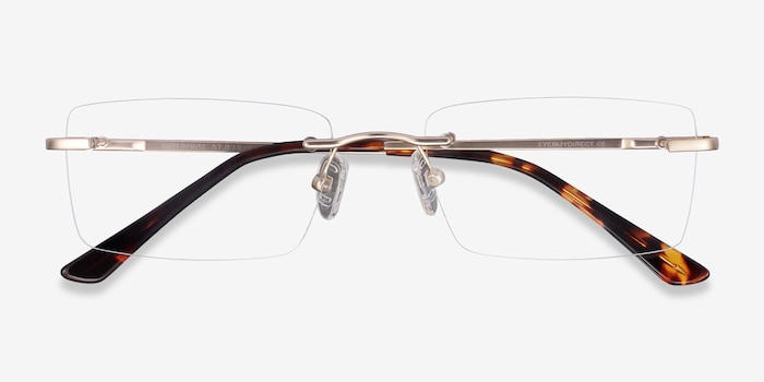 Enterprise Gold Metal Eyeglass Frames from EyeBuyDirect, Closed View