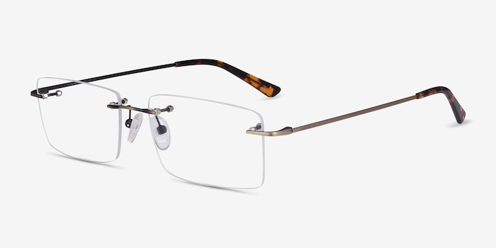 Evolve Bronze Metal Eyeglass Frames from EyeBuyDirect, Angle View
