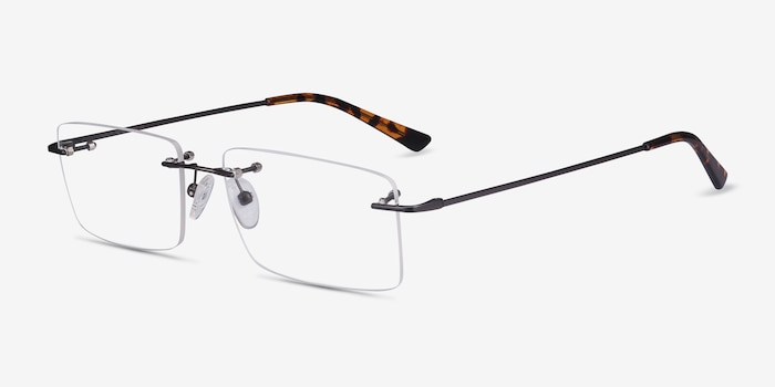 Evolve Gunmetal Metal Eyeglass Frames from EyeBuyDirect, Angle View