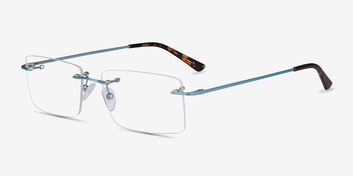 Evolve Blue Metal Eyeglass Frames from EyeBuyDirect, Angle View
