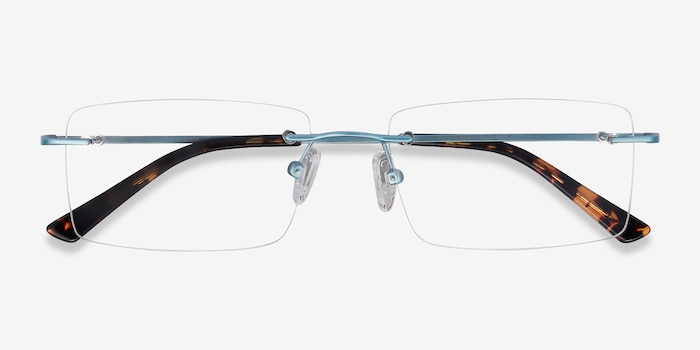 Evolve Blue Metal Eyeglass Frames from EyeBuyDirect, Closed View