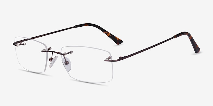 Forge Coffee Metal Eyeglass Frames from EyeBuyDirect, Angle View