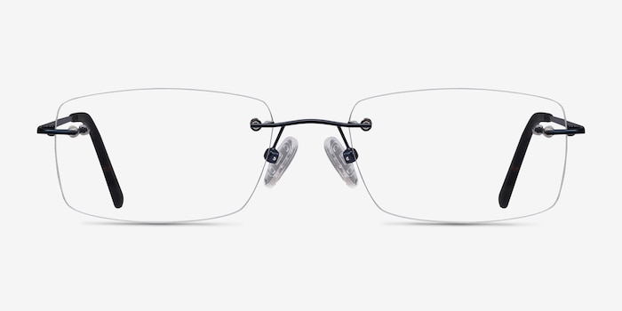 Forge Navy Metal Eyeglass Frames from EyeBuyDirect, Front View