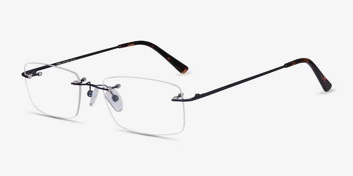 Forge Navy Metal Eyeglass Frames from EyeBuyDirect, Angle View