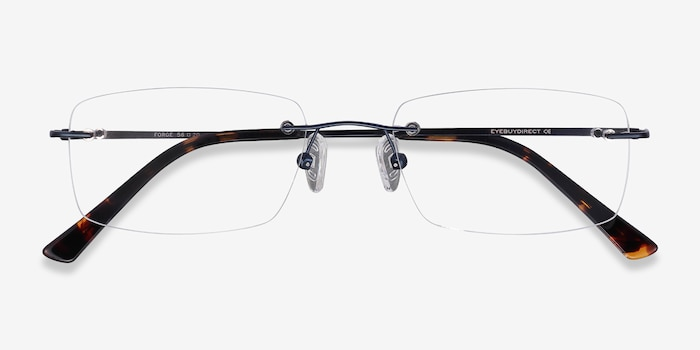 Forge Navy Metal Eyeglass Frames from EyeBuyDirect, Closed View