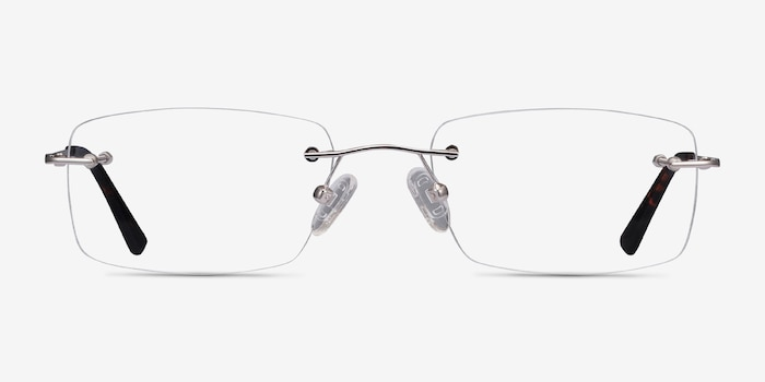 Forge Silver Metal Eyeglass Frames from EyeBuyDirect, Front View