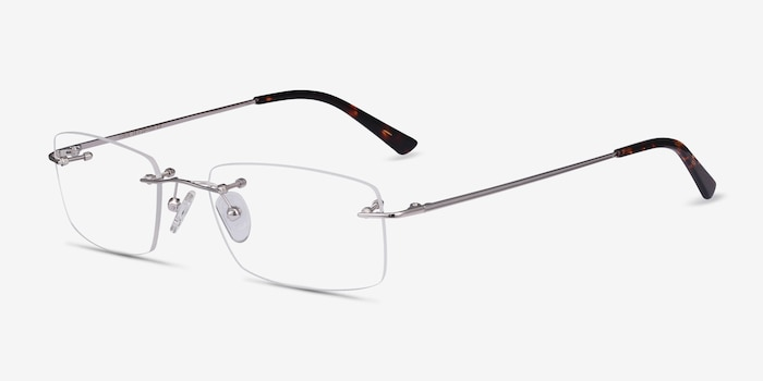 Forge Silver Metal Eyeglass Frames from EyeBuyDirect, Angle View