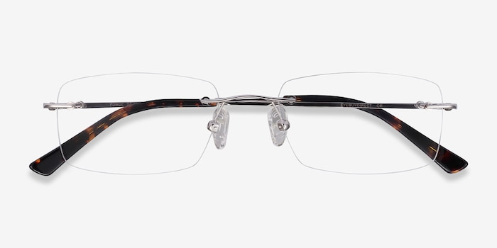 Forge Silver Metal Eyeglass Frames from EyeBuyDirect, Closed View