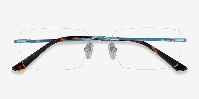 Bold Blue Metal Eyeglass Frames from EyeBuyDirect, Closed View