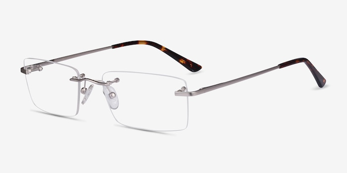Bold Silver Metal Eyeglass Frames from EyeBuyDirect, Angle View