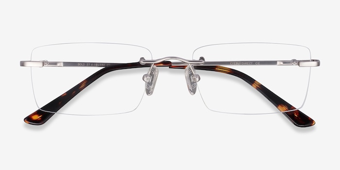 Bold Silver Metal Eyeglass Frames from EyeBuyDirect, Closed View