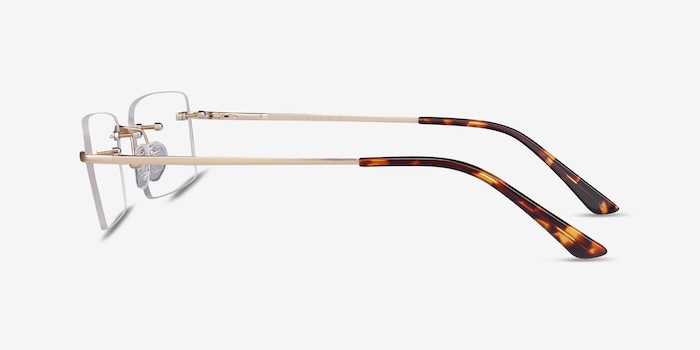Bold Gold Metal Eyeglass Frames from EyeBuyDirect, Side View