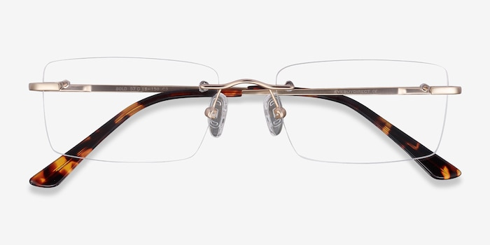 Bold Gold Metal Eyeglass Frames from EyeBuyDirect, Closed View