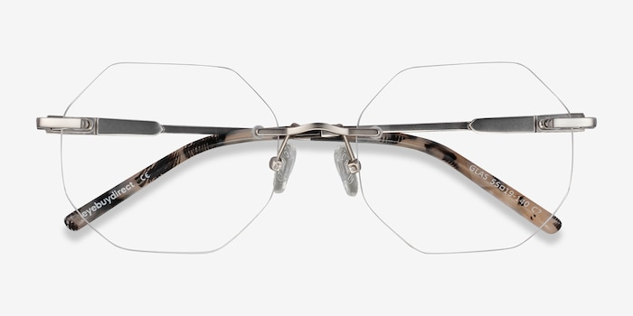 Glas Silver Metal Eyeglass Frames from EyeBuyDirect, Closed View