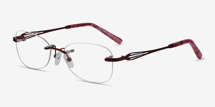 Scene Red Metal Eyeglass Frames from EyeBuyDirect, Angle View
