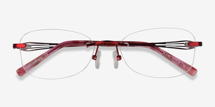 Scene Red Metal Eyeglass Frames from EyeBuyDirect, Closed View