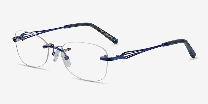 Scene Blue Metal Eyeglass Frames from EyeBuyDirect, Angle View
