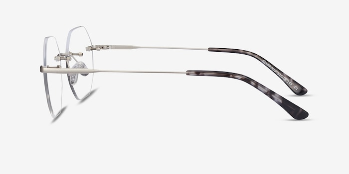 Generous Matte Silver Metal Eyeglass Frames from EyeBuyDirect, Side View