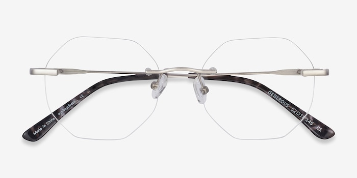 Generous Matte Silver Metal Eyeglass Frames from EyeBuyDirect, Closed View
