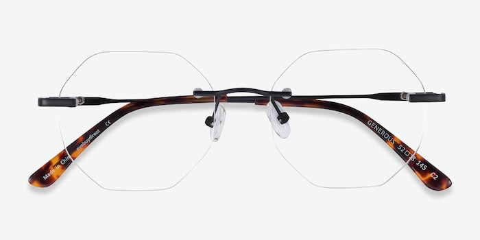 Generous Matte Black Metal Eyeglass Frames from EyeBuyDirect, Closed View