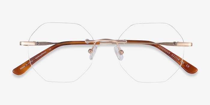 Generous Matte Gold Metal Eyeglass Frames from EyeBuyDirect, Closed View