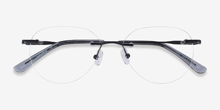 Feel Black Metal Eyeglass Frames from EyeBuyDirect, Closed View