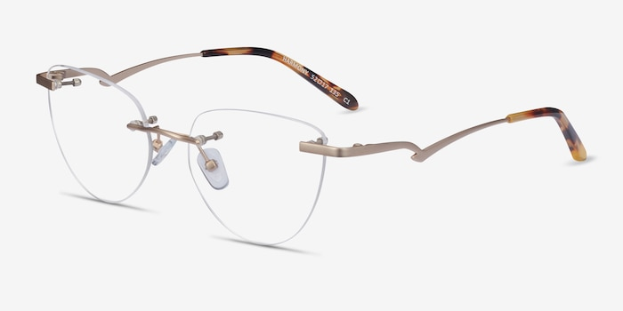 Harmony Matte Gold Metal Eyeglass Frames from EyeBuyDirect, Angle View