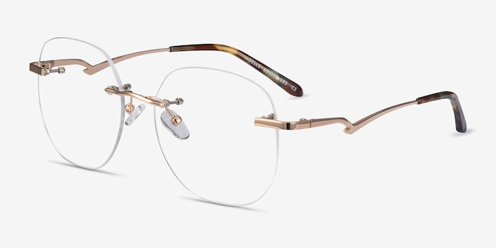 Belle Gold Metal Eyeglass Frames from EyeBuyDirect, Angle View