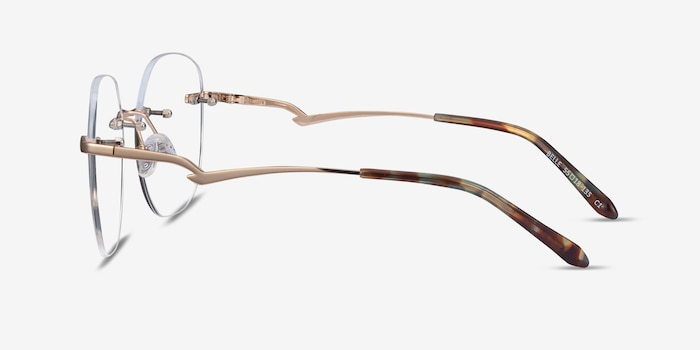 Belle Gold Metal Eyeglass Frames from EyeBuyDirect, Side View