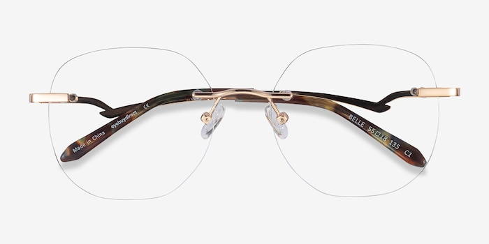 Belle Gold Metal Eyeglass Frames from EyeBuyDirect, Closed View
