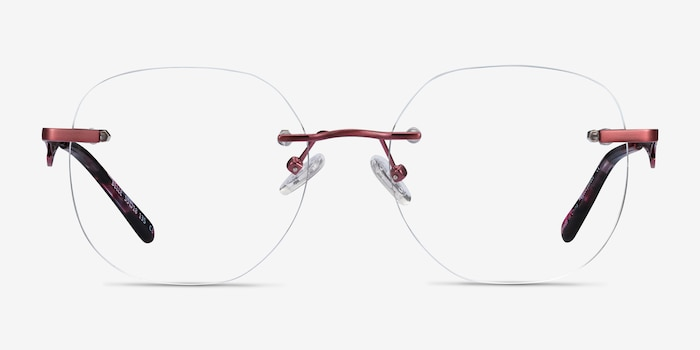 Belle Burgundy Metal Eyeglass Frames from EyeBuyDirect, Front View