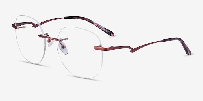 Belle Burgundy Metal Eyeglass Frames from EyeBuyDirect, Angle View