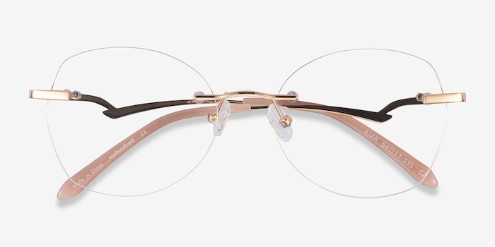 Ajar Gold Metal Eyeglass Frames from EyeBuyDirect, Closed View