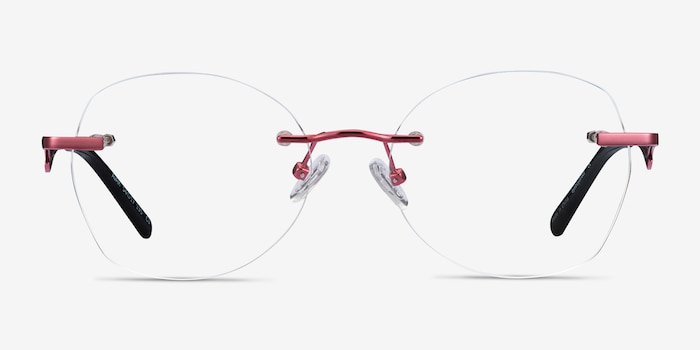 Ajar Raspberry Metal Eyeglass Frames from EyeBuyDirect, Front View