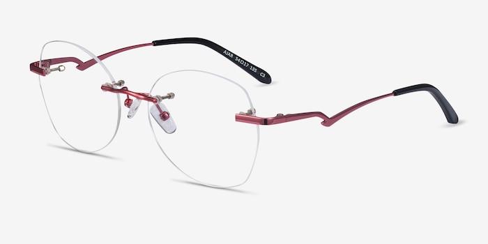 Ajar Raspberry Metal Eyeglass Frames from EyeBuyDirect, Angle View