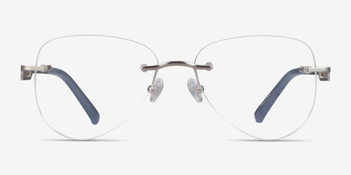Ride Silver Light Gray Metal Eyeglass Frames from EyeBuyDirect, Front View