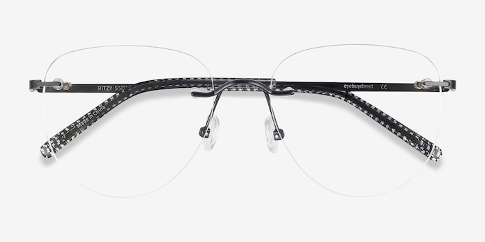 Ritzy Black Metal Eyeglass Frames from EyeBuyDirect, Closed View