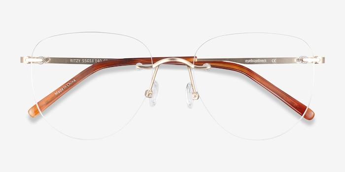 Ritzy Doré Métal Montures de Lunette de vue d'EyeBuyDirect, Vue Rapprochée