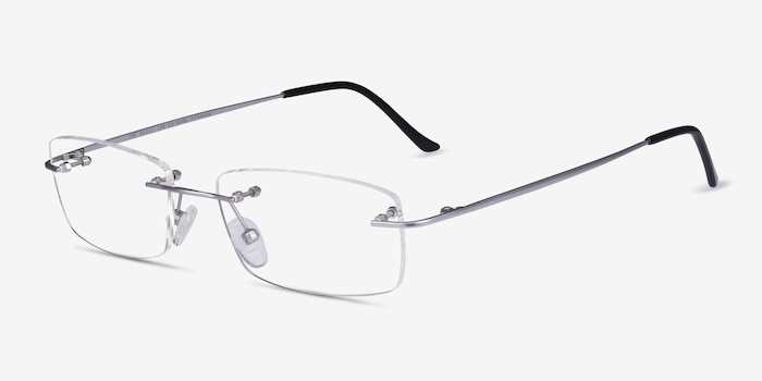 Ebb Silver Titanium Eyeglass Frames from EyeBuyDirect, Angle View