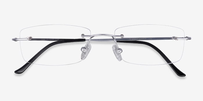 Ebb Silver Titanium Eyeglass Frames from EyeBuyDirect, Closed View