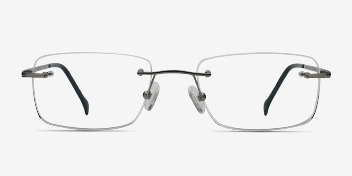 Lupin Silver Titanium Eyeglass Frames from EyeBuyDirect, Front View