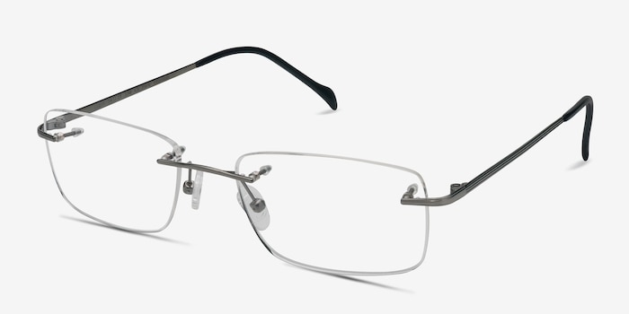 Lupin Silver Titanium Eyeglass Frames from EyeBuyDirect, Angle View