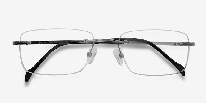 Lupin Silver Titanium Eyeglass Frames from EyeBuyDirect, Closed View