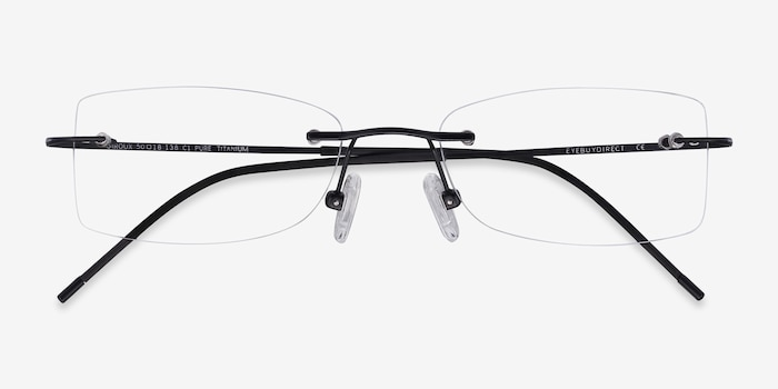 Giroux Black Titanium Eyeglass Frames from EyeBuyDirect, Closed View