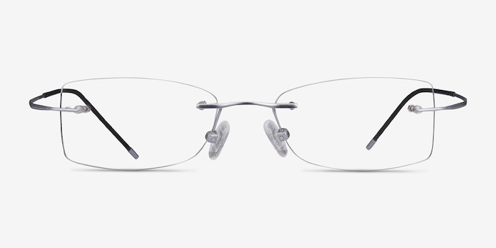 Giroux Silver Titanium Eyeglass Frames from EyeBuyDirect, Front View