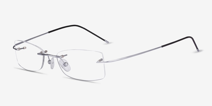Giroux Silver Titanium Eyeglass Frames from EyeBuyDirect, Angle View